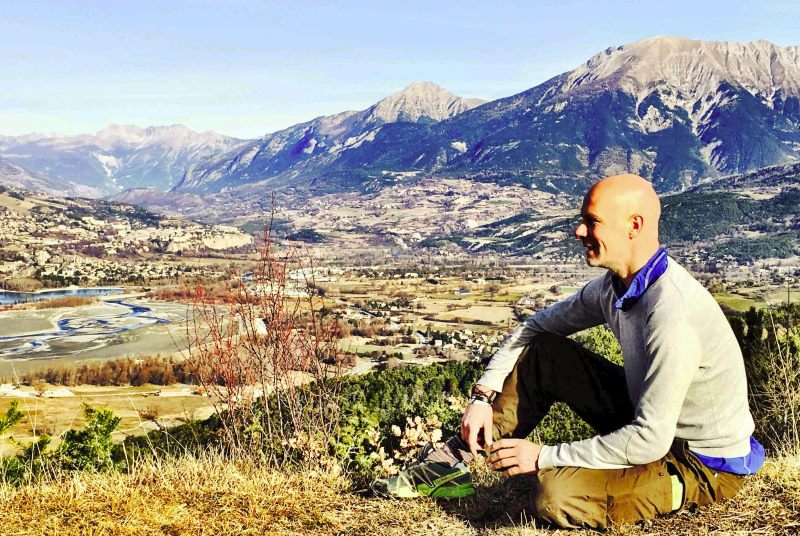 Jeroen in Embrun with amazing view